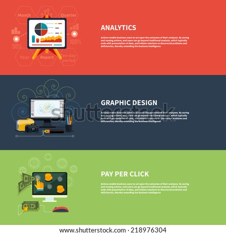 Icons for web design analytics graphic design and pay per click internet advertising in flat design. Raster version - stock vector