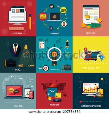 Icons for web design, seo, social media and pay per click internet advertising, e-commerce, business, management, delivery, online shop in flat design - stock vector