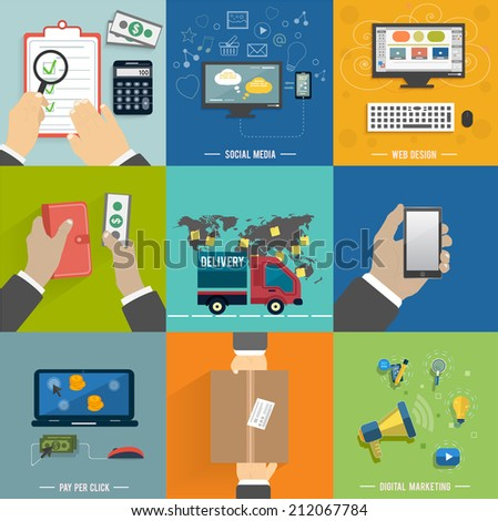Icons for web design, seo, social media and pay per click internet advertising in flat design. Internet shopping process of purchasing and delivery - stock vector