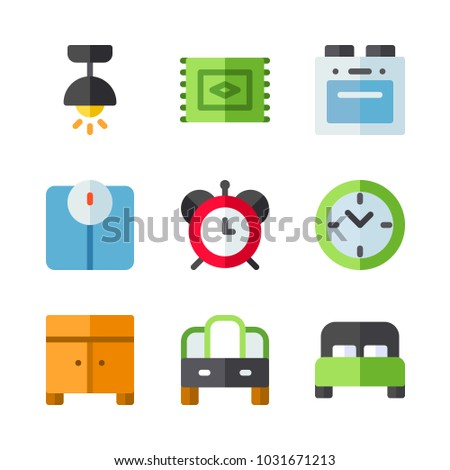 icons Furniture. vector carpet, red clock and lamp