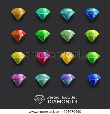 Icons glowing gems, diamonds - stock vector