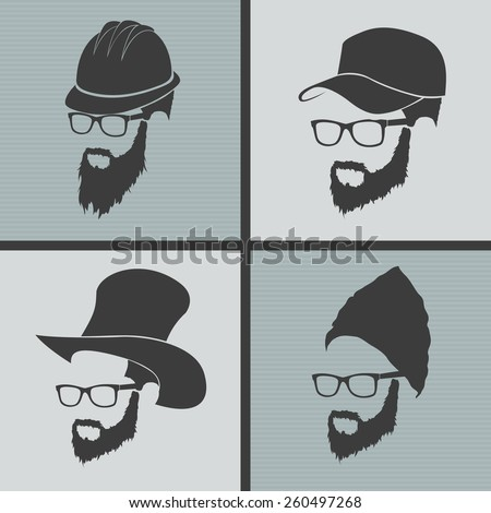 icons hairstyles beard and mustache hipster full face - stock vector