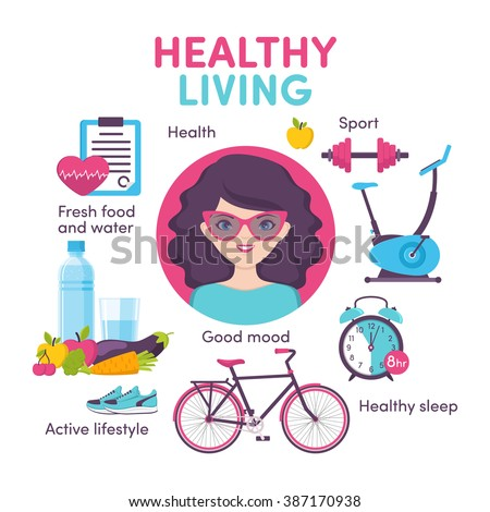 Icons healthy living, sport, food, clock, woman portrait - stock vector