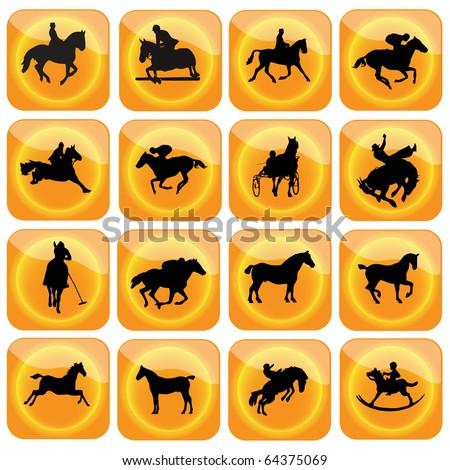 Icons horse sport.Vector - stock vector