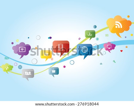 Icons illustration of social media in waves. Communication and services in social media. - stock vector