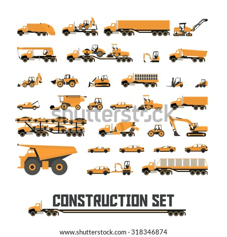 Icons in flat style ( Construction equipment ) | One Color Icons | - stock vector