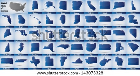 icons in form of all states of the USA - stock vector