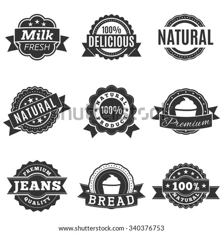 Icons in gray label, quality, template labels for retail and design. Vector illustration, isolated on a white background