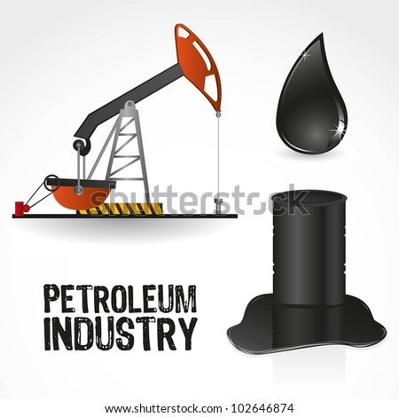 icons in the oil industry, contains gallon, pump and drop of oil, vector illustration - stock vector