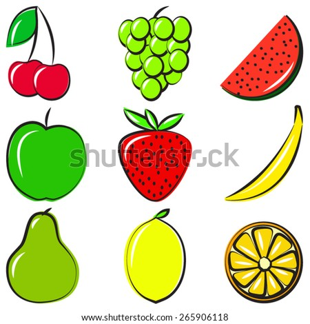 Icons in vector format. Fruits