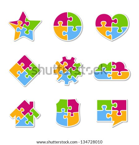 Icons made of puzzle pieces, design elements for your logo, vector eps10 illustration - stock vector