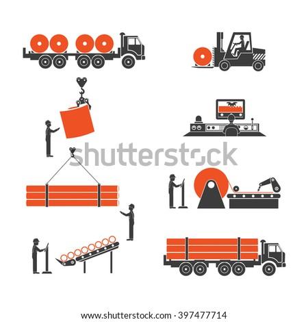 icons metallurgy production of pipes - stock vector