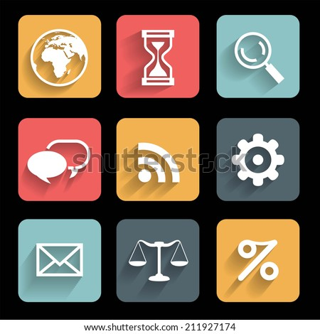 Icons. Metro style. Interface mobile applications (app) - stock vector