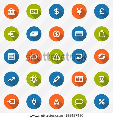 icons modern design style vector set of financial service items, banking accounting tools, stock market global trading and money objects and elements.