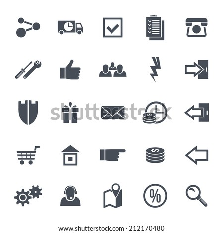 Icons navigation on-line store. Base set in a flat style. Black on a  white background - stock vector