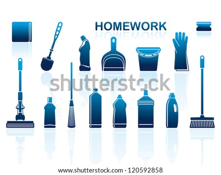 Icons of accessories and means for cleaning - stock vector