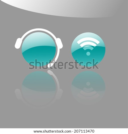Icons of an operator with a headset and a wi-fi symbol - stock vector