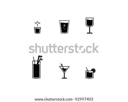 Icons Of Bar Drinks. Six black bar drink icons. Fun and easy illustration for bar menus. - stock vector