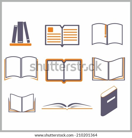Icons of books over the white - vector illustration