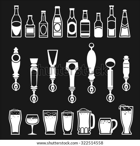 icons of bottles drinks and beer taps - stock vector