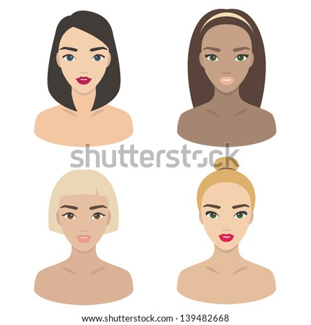 Icons of brunet, blond, red-haired and brown-haired girls/Set of girls icons - stock vector