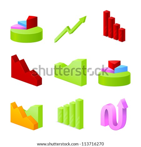 Icons of business chart collection - stock vector