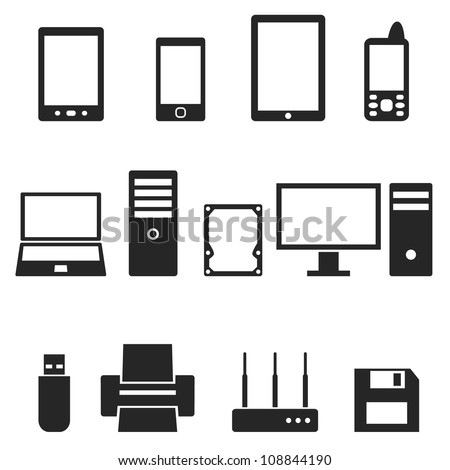 Icons of computer hardware and gadgets. - stock vector