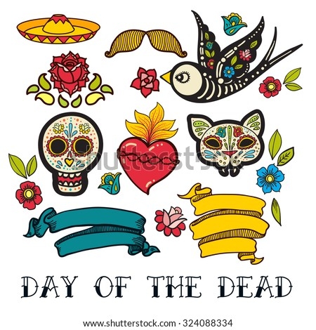 Icons  of Day of the Dead, a traditional holiday in Mexico. Skulls, flowers, ribbons, heart for the design of your products, labels - stock vector