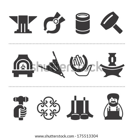Icons of different accessories and attributes of blacksmithing - stock vector