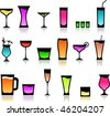 icons of different cocktail glasses - stock photo