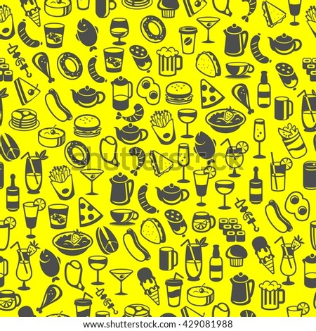 icons of different food and drinks, vector - stock vector