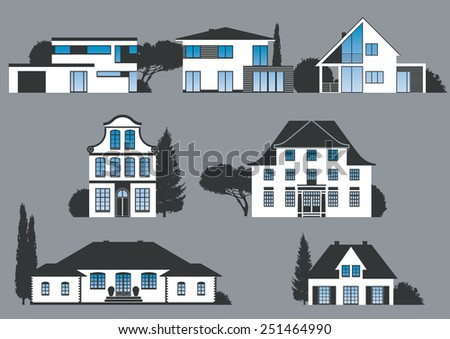 icons of different houses, manors and villas - stock vector