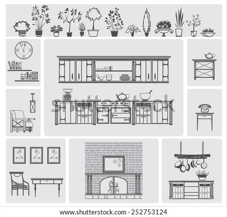 icons of different kitchen elements and furniture - stock vector