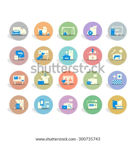 Icons of different products and services