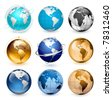 Icons of Earth on a white background The base map is from http://www.lib.utexas.edu/maps/world.html - stock vector