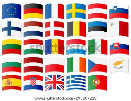 Icons of flags of the European Union. Vector illustration. - stock vector