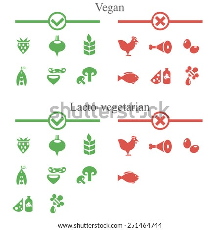 Icons of forbidden and allowed food for vegans / Solid fill vector icons of food  - stock vector