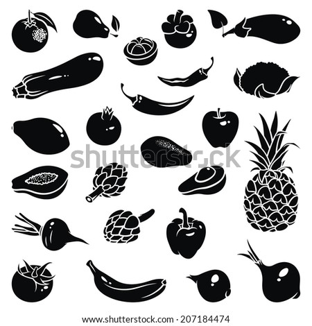 Icons of fruits and vegetables - stock vector