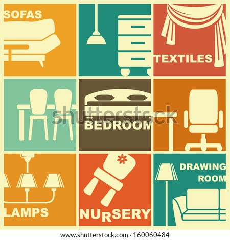 Icons of furniture and interiors - stock vector