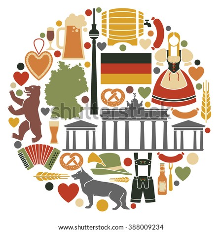 Icons Of Germany in the form of a circle - stock vector