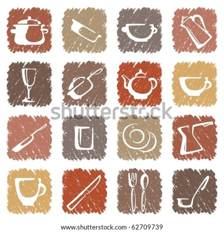 Icons of kitchen ware - stock vector
