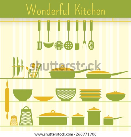 Icons of kitchen ware on the decorative background. Banner design. - stock vector