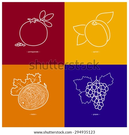 Icons of Melon, Grapes, Pomegranate, Apricot on Colored Backgrounds