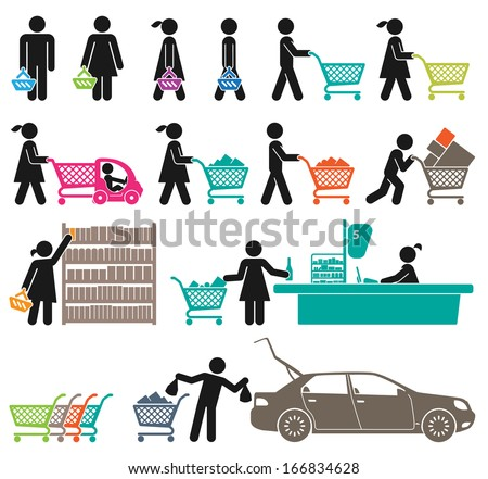ICONS OF MEN AND WOMEN GO SHOPPING   - stock vector