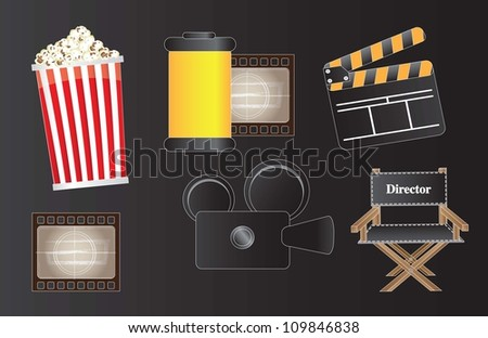 icons of movie, film and cinema over black background - stock vector