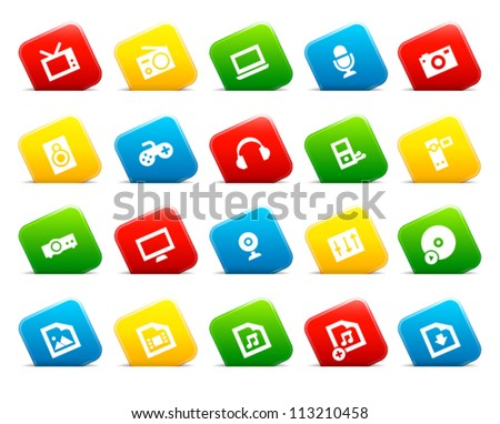 Icons of multimedia devices on colored cut square buttons. Image contains transparency - you can put it on every surface. 10 EPS - stock vector