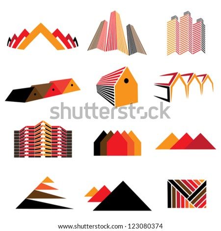 Icons of office buildings, residential houses & homes. Also symbols and signs of real estate, commercial shops, apartments, factories and other establishments. - stock vector