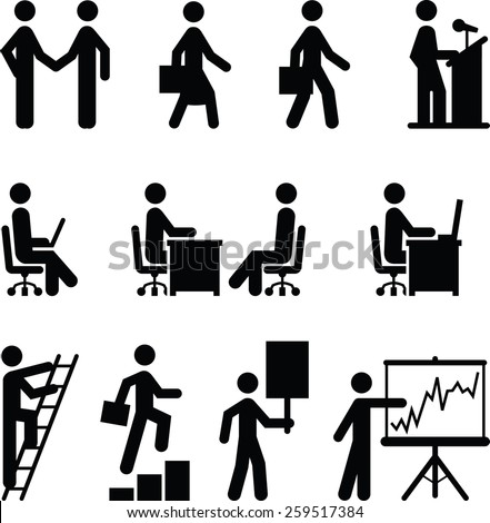 Icons of people in work, career and other business situations. Vector icons for digital and print projects. - stock vector