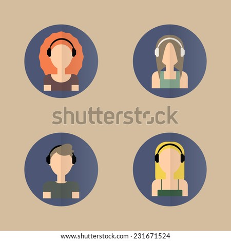Icons of people wearing headphones, woman and man in headphones listening to music, style flat - stock vector