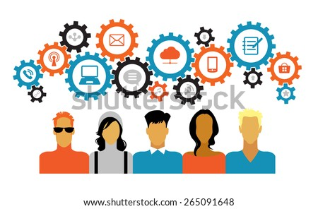 Icons of people with gears and interface icons technology, social media. concept of people communicate in a global network. Icons of people with gears and Interface icons - stock vector
